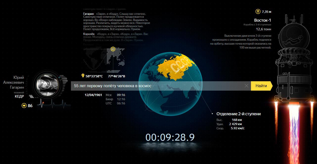 Яндекс о первом полёте человека в Космос.